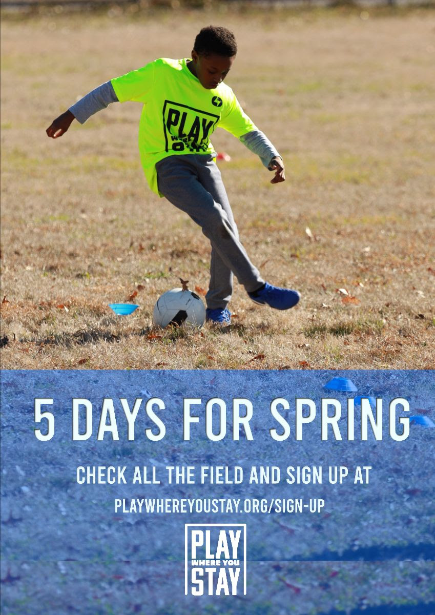 player dribbling soccer ball with text layover: 5 days for spring